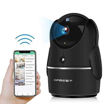 Cámara IP, AFBEST 1080P Cámaras de seguridad inalámbricas con control remoto por infrarrojos con Pan