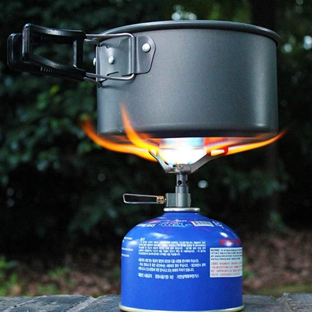 Riding MMJJQWE Ultra-Light Titanium Alloy Camping Stove Gas Stoves for Backpacking Hiking with Piezo Ignition Adjustable Valve Stainless Steel