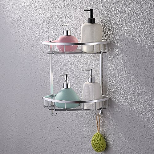 Kes Aluminum Tub and Shower Large Corner Basket Wall Mount Double Deck, A4021B (Triangle Soap Lotion)