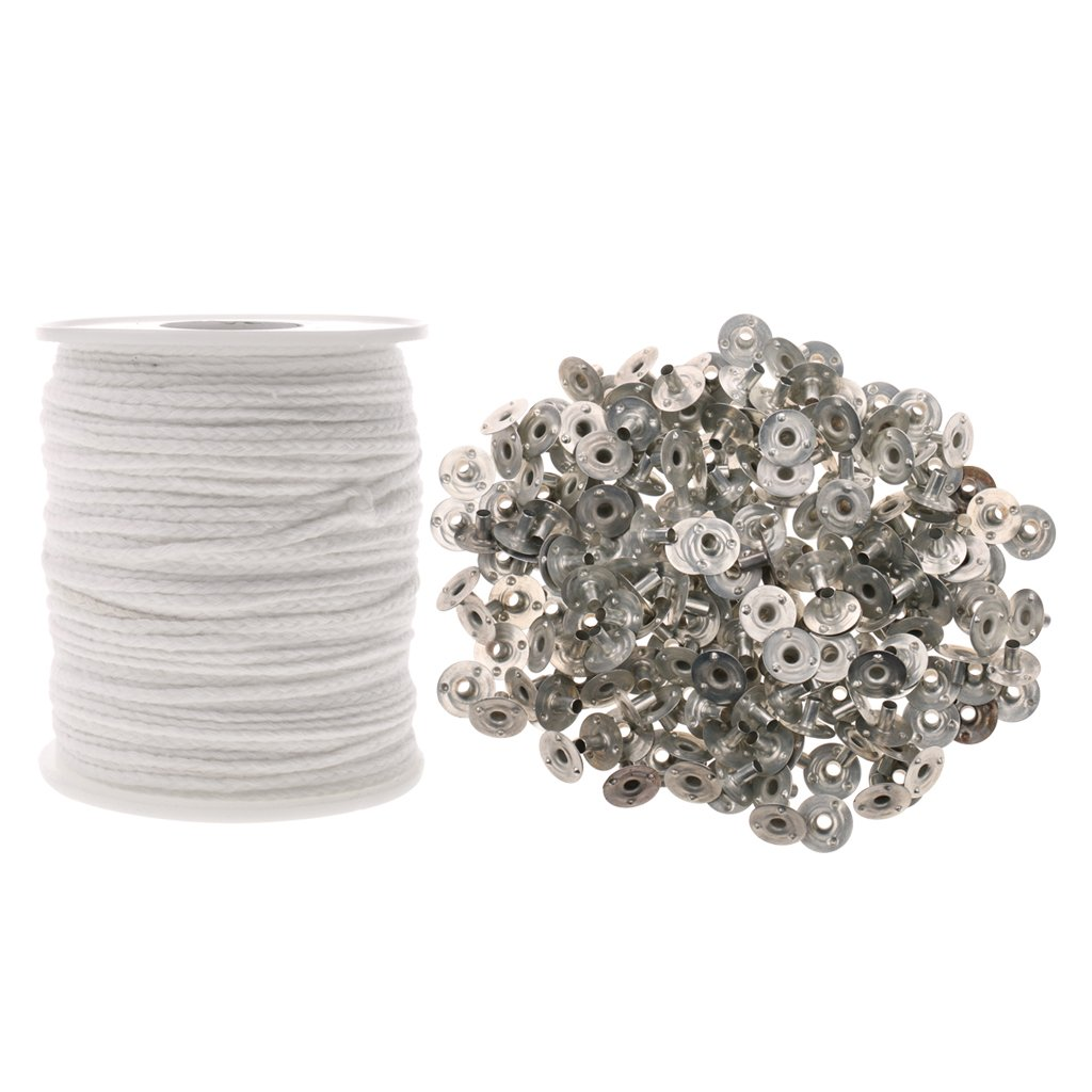 MonkeyJack 67 YARDS Cotton BRAIDED WICK SPOOL WITH 200 Aluminum CANDLE WICK SUSTAINERS TABS for Candle Making