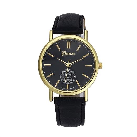 El mundo de la moda de Nueva Oyedens de moda reloj de pulsera de cuarzo de cuero y alca palop en un reloj de color negro: Amazon.es: Relojes