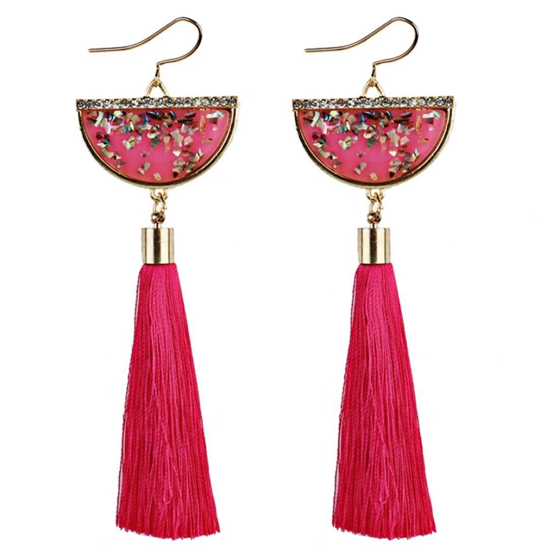 Minshao Vintage Women Bohemian Earrings Long Tassel Fringe Dangle Earrings Jewelry (Purple)