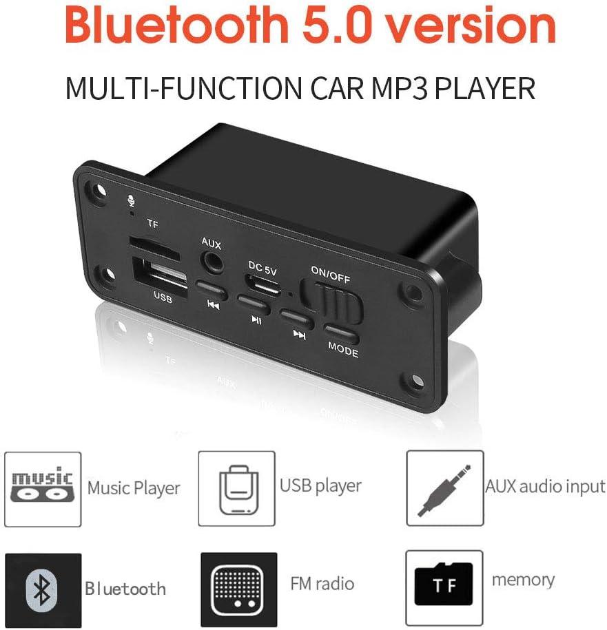 Tiamu Reproductor de MP3 Manos Libres Tablero Decodificador 2 X 3W Amplificador DC 5V MP3 WMA Inal/áMbrico 5.0 Tablero Decodificador M/óDulo de Audio USB FM TF Radio