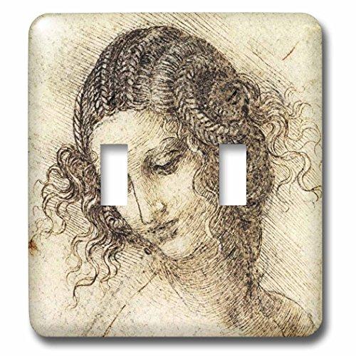 Leda Metal Desk - Florene - Famous Art - Print of Leonardo Head Of Leda Painting - Light Switch Covers - double toggle switch (lsp_203733_2)