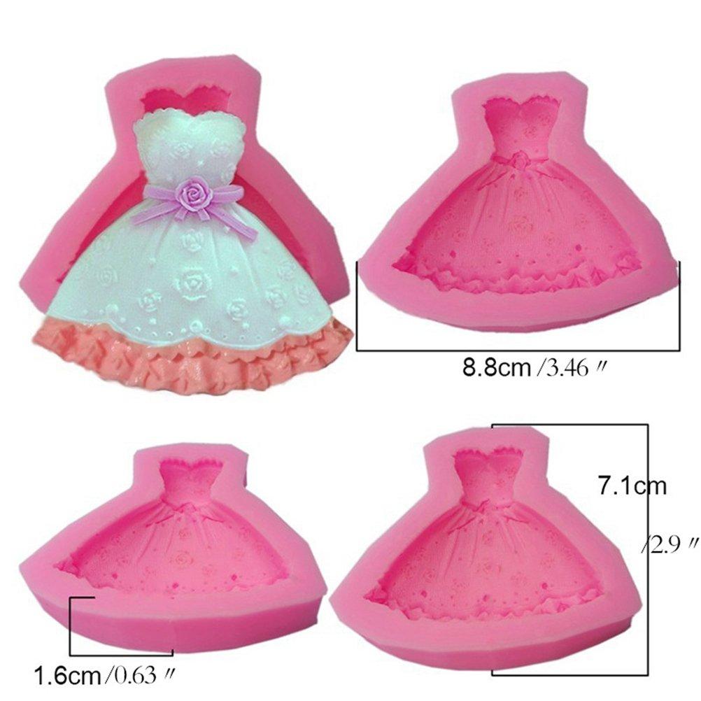 BESTONZON Molde del jabón del molde del chocolate de la forma del vestido de partido de la forma del molde 3D del silicón para adornar las tortas, ...