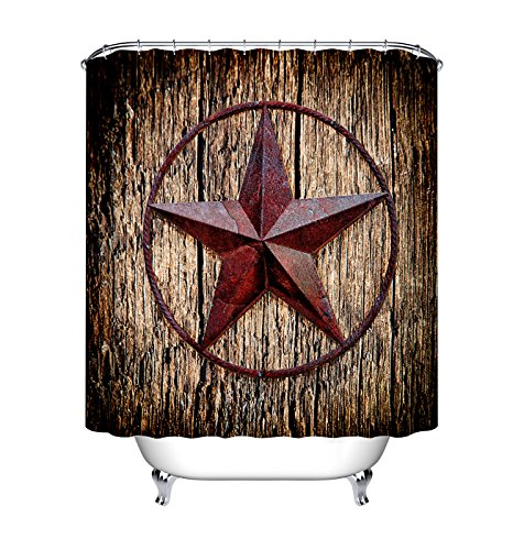 LB Modern Design Texas Shower Curtain Western Style Texas Stars on Wood Panel Artwork Rustic Shower Curtains for Bathroom,Waterproof Fabric 60x72 Inch with 10 ()