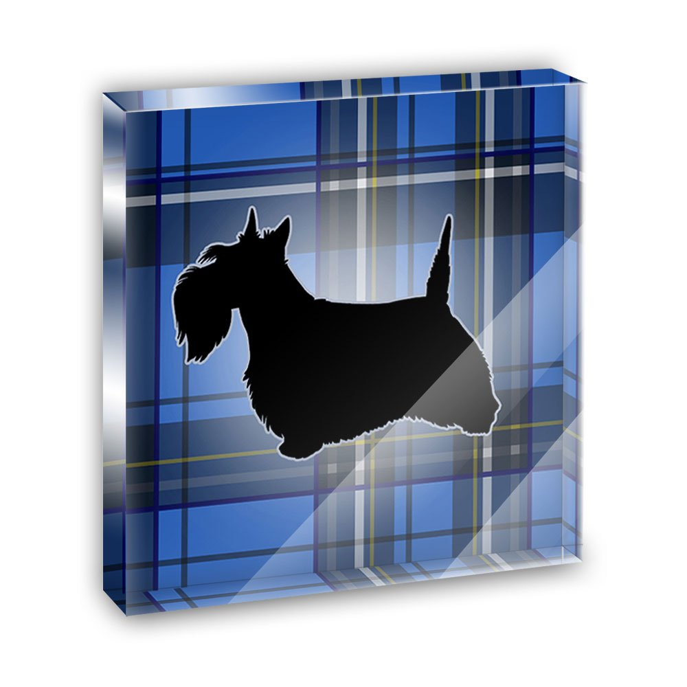 Scottie Dog on Blue Plaid Scottish Terrier Acrylic Office Mini Desk Plaque Ornament Paperweight