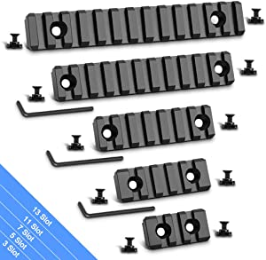 Modkin Picatinny Rail Accessory Set, 3-5-7-11-13 Slots Aluminum Picatinny Rails Section with 11 T-Nuts & 11 Screws & 3 Allen Wrench