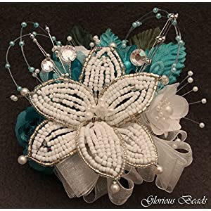 Corsage pin on Turquoise Teal BEADED Lily with roses, beads, and rhinestones. Also sold with matching silk boutonniere. Other colors offered in my Amazon store 53