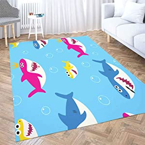 Gray Area Rug 5X7,Shorping Play Area Rug Winter Rug Christmas Area Rugs Baby Shark Pattern Drawing Cute Kids Blue Modern Home Carpet,Fun Area Rug,Floor Mats for Home Bedroom,Large Area Rugs