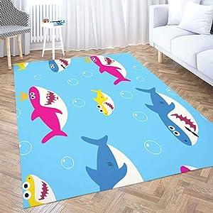 Dorm Area Rug,Shorping Halloween Area Rug 2X3 Ft Soft Area Rug Wool Area Rug Baby Shark Pattern Drawing Cute Kids Blue Modern Area Rug,Floor Mats for Home Bedroom Carpets