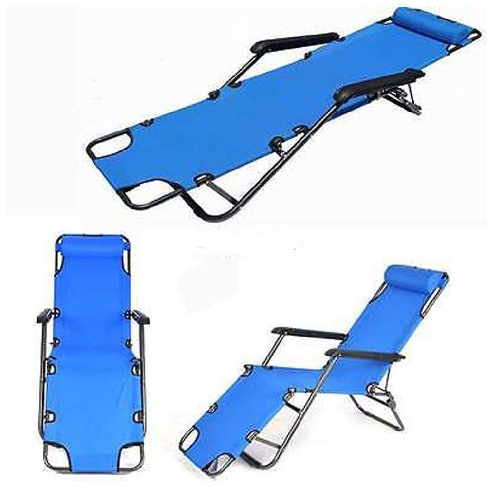 Worldpride1 Portable Folding Garden Lounge Chair Beach Patio Pool Yard Recliner Outdoor Blue by Worldpride1