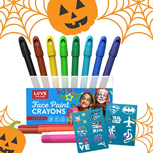 BEST FACE PAINT KIT for Kids with 12 Non-Toxic Color Sticks | Best Quality Painting Set, Sturdy Case+12 BONUS Stencils & E-book | Easy to Apply, Long Lasting,Water Based Twist Up Crayons! (Kids Paint Face For Halloween)