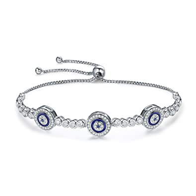 Women Jewellery, 925 Sterling Silver Charm Tennis Bracelet with Cubic Zirconia Adjustable,Gifts