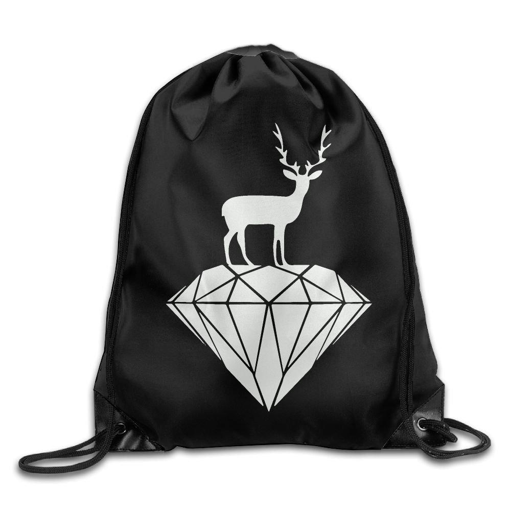 Deer Drawstring Backpack Rucksack Shoulder Bags Training Gym Sack For Man And Women