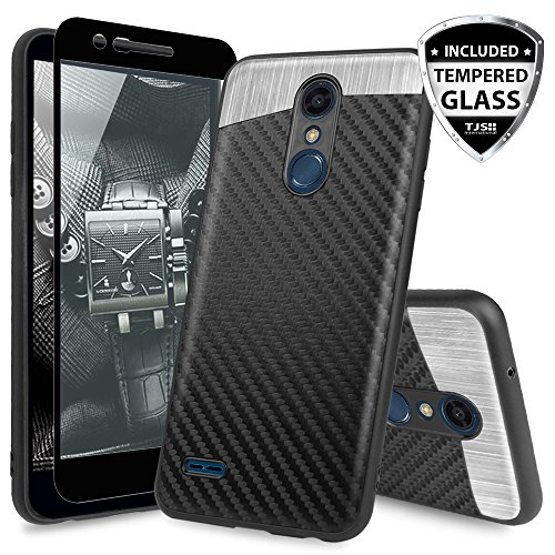 TJS LG Stylo 4 2018/LG Stylo 4 Plus/LG Q Stylus/LG Q Stylus Plus/LG Q Stylus Alpha Phone Case, [Full Coverage Tempered Glass Screen Protector] Shockproof Carbon Fiber Built-in Metal Plate ()