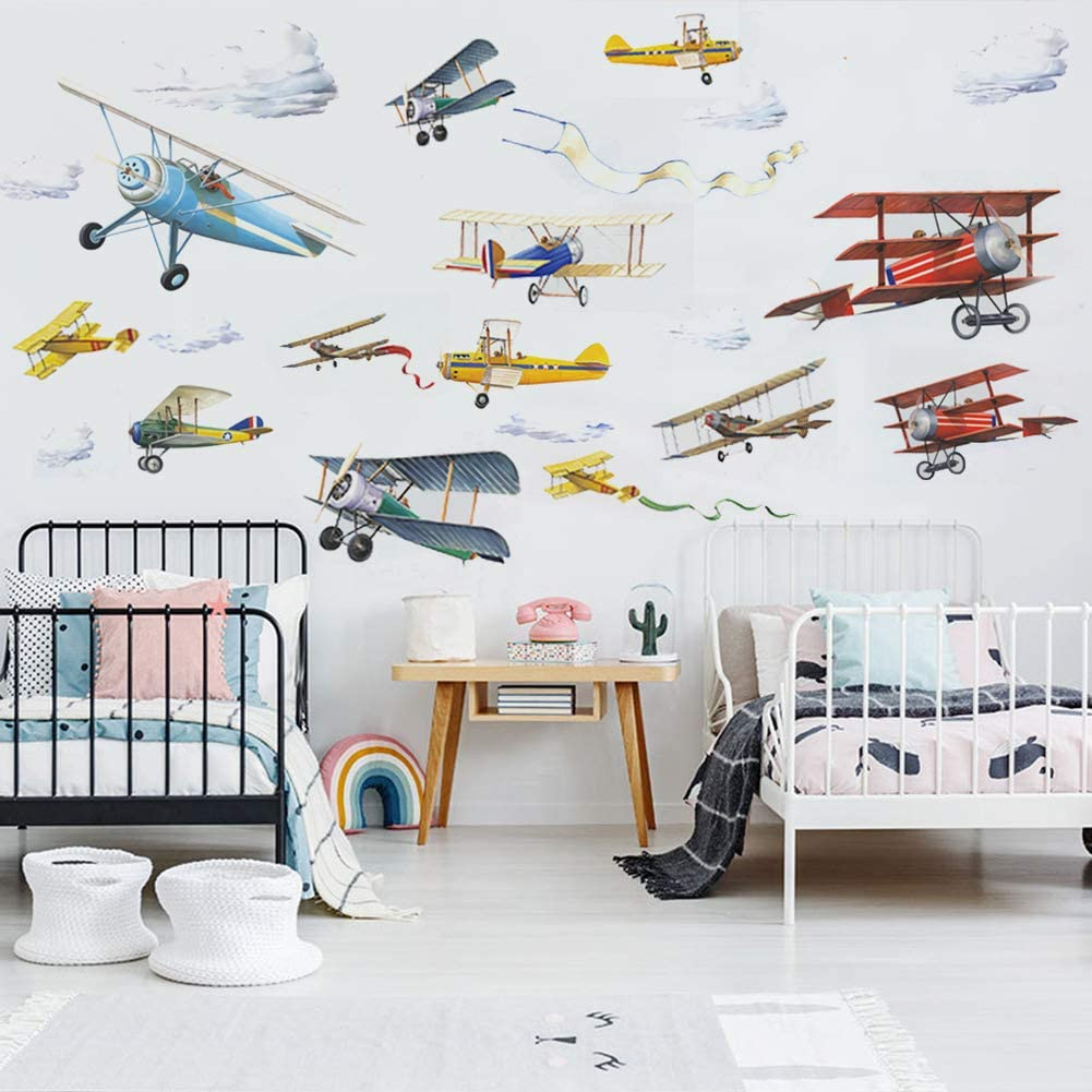 Watercolor Airplane Wall Decals Airplane, 9.818inch4pcs Aircrafts Theme Boys Bedroom Wall Decoration Removable Wall Stickers for Nursery Playroom Kids Bedroom Decoration