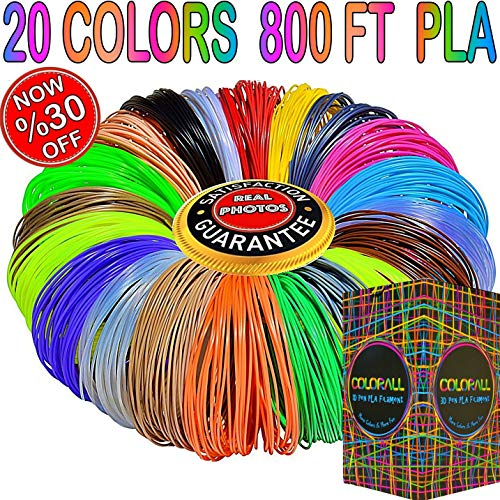 3D Pen Filament Refills 1.75mm PLA 20 Colors Total 800 Feet, 40 Feet Each-Mega Kit/Set with Individual Packs for 3D Drawing/Printing Pens and Printers