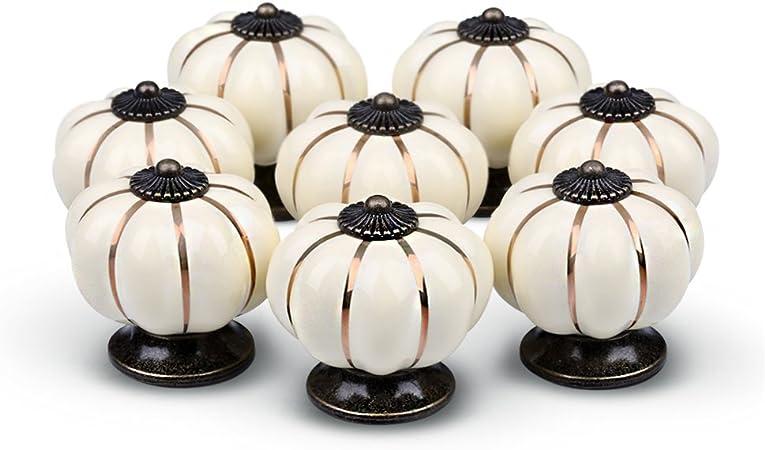 Ydo Tm Pumpkin Knobs Ivory Kitchen Cabinet Pull Ceramic Handle 8pcs