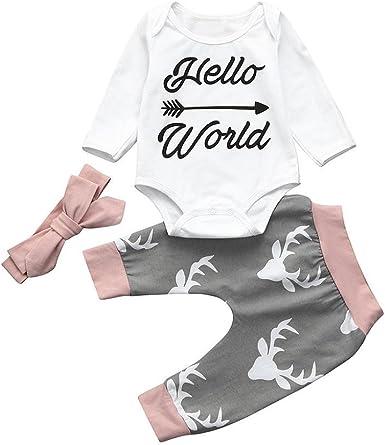Kukul 3PCS Camisa Pantalones Banda para 0-2 Años Bebé, Camiseta de Manga Larga Blanca +