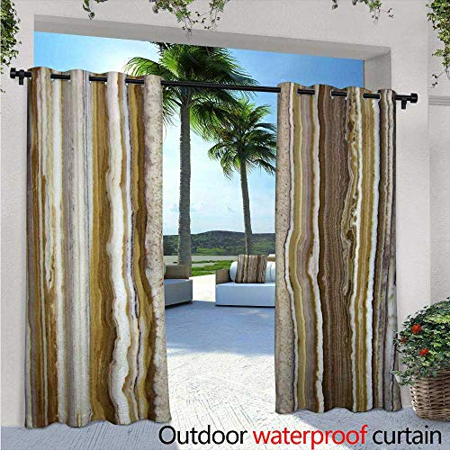 Marble Indoor/Outdoor Single Panel Print Window Curtain W84 x L84 Onyx Marble Rock Themed Vertical Lines and Blurry Stripes in Earth Color Print Silver Grommet Top Drape Mustard Brown (Onyx Lattice)