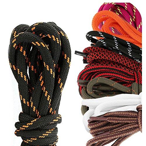 DailyShoes Round Hiking Boot Shoelaces Strong Durable Stylish Shoe Laces Wherewithal Hazel , (Great for ) Black Orange 78