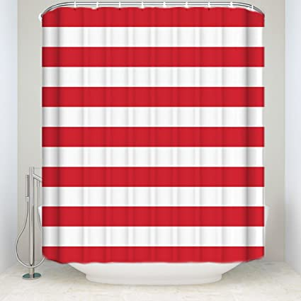 Prime Leader Striped Shower Curtain Christmas Style Red And White Stripes Monochrome Tones Digital Printed