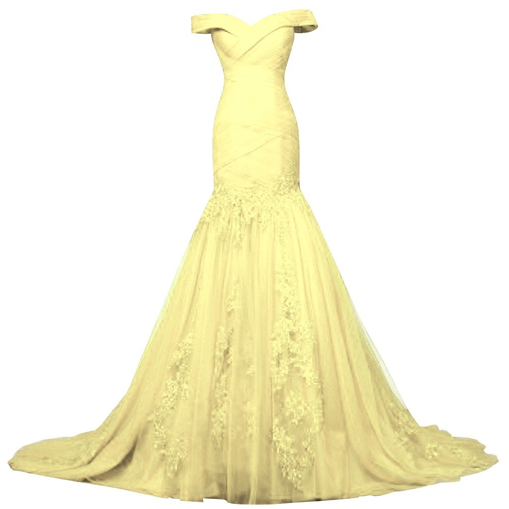 Daffodil Bess Bridal Womens Off Shoulder Lace Tulle Mermaid Prom Dresses Lace Up Evening