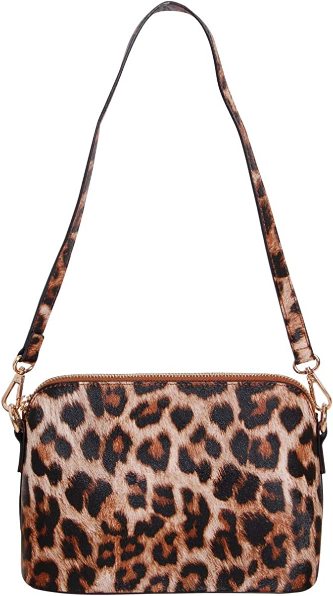 Mini Vegan Leather Structured Zip Shoulder Purse or Crossbody Bag for Women Humble Chic Saffiano Convertible Handbag Includes Two Adjustable Straps Leopard Brown