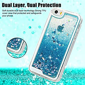 iPhone SE Case, iPhone 5 5S Case - MOLLYCOOCLE Transparent Clear TPU Plastic Shell 3D Bling Sparkle Glitter Quicksand and Cute Star Flowing Liquid Cover for iPhone SE/5/5S - Blue