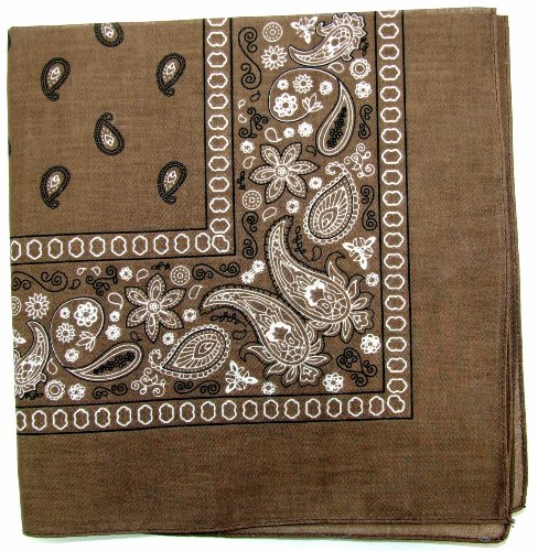 Novelty Bandanas Paisley Cotton Bandanas (Brown, 22 X 22 (Brown Bandana)