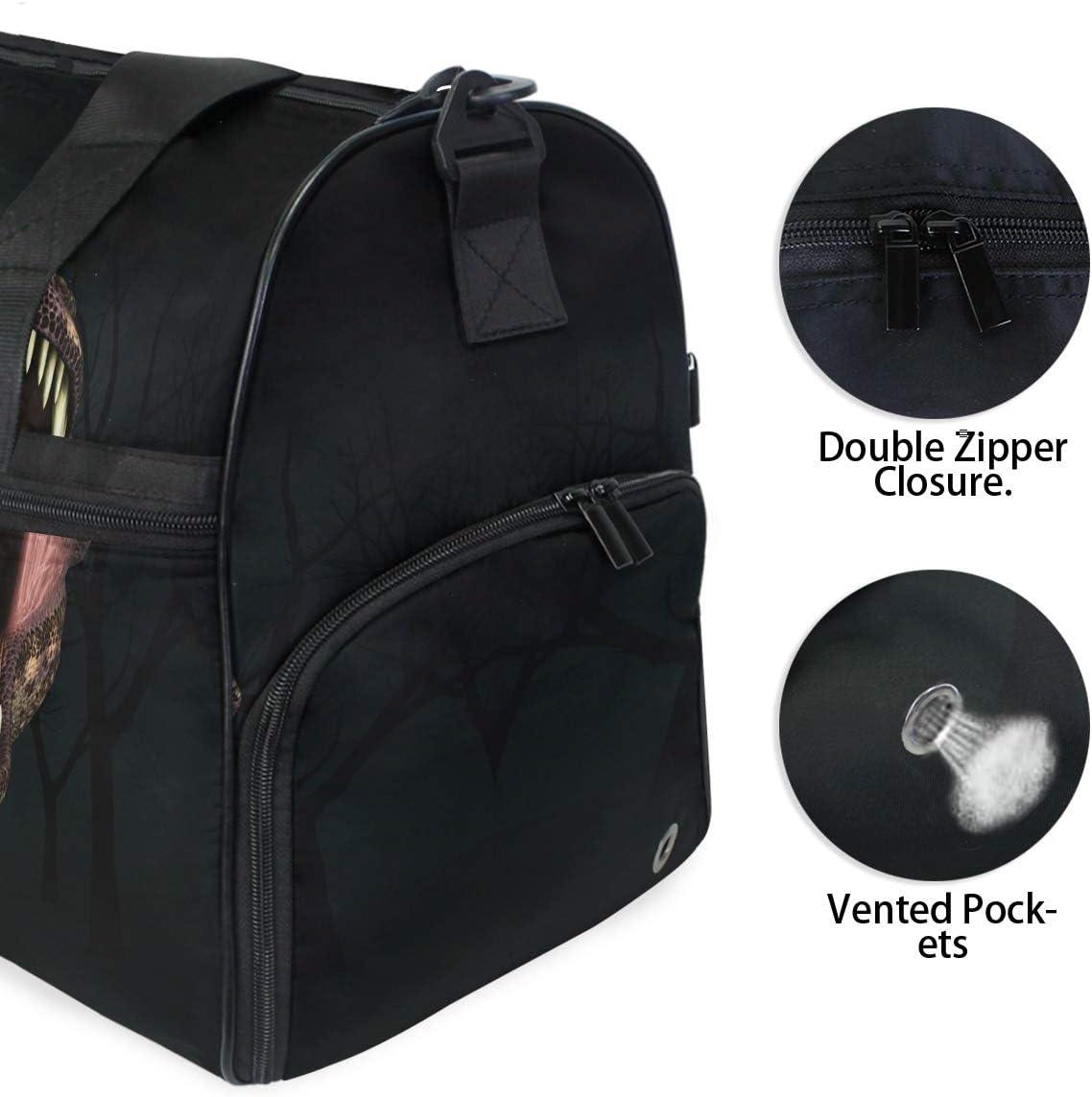 ALAZA Tyrannosaurus Rex Sports Gym Duffel Bag Travel Luggage Handbag Shoulder Bag with Shoes Compartment for Men Women