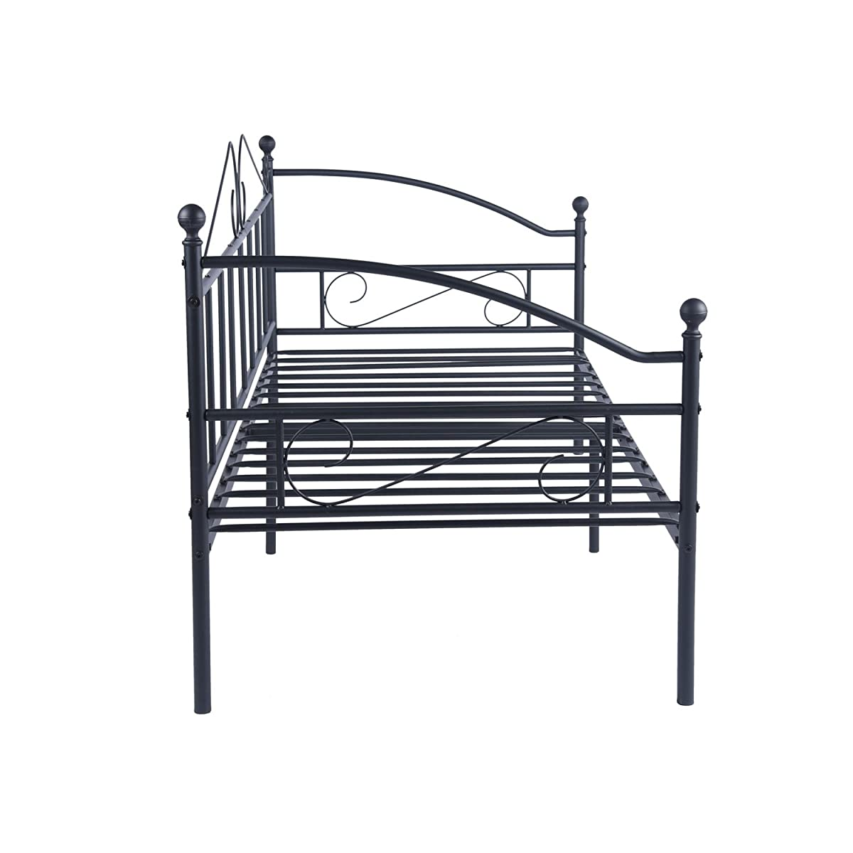 GreenForest Metal Daybed Twin Size with Headboard Metal Slats Support Bed Frame Mattress Foundation Black