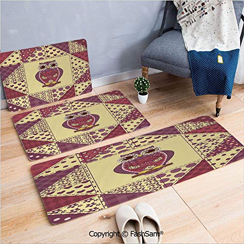 FashSam 3 Piece Non Slip Flannel Door Mat Vintage Inspired Owl Pattern Invisible to Prey Nocturnal Mimicking Predator Indoor Carpet for Bath Kitchen(W15.7xL23.6 by W19.6xL31.5 by W31.4xL47.2)