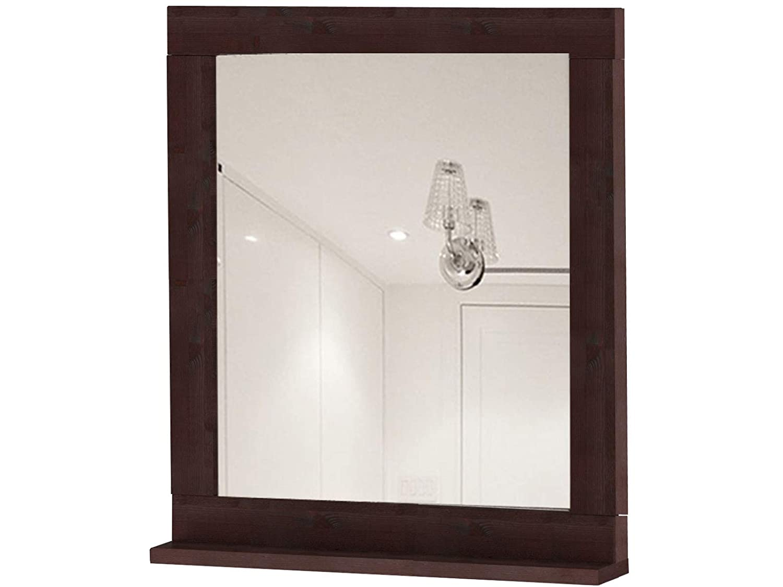 Loft24 TILO Spiegel 65x55 cm Wandspiegel mit Ablage Flurspiegel Badspiegel Spiegelrahmen Holzspiegel Kiefer massiv Dunkelbraun (Havanna)