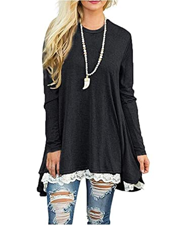 c3ae827fa52a8d Halife Womens Casual Loose Fitting Long Sleeve Lace Tunic Tops for Leggings  Black