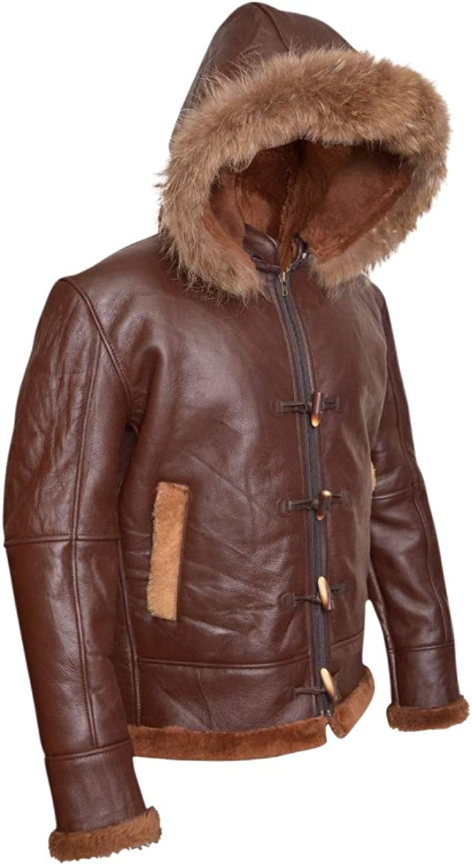 Aviator B3 RAF Real Shearling Bomber Brown Removable Raccoon Hood Leather Jacket