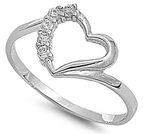 Amazon.com: 10 mm. 925 italiano fina plata de ley w/CZ amor ...