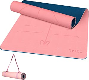 """Non Slip Yoga Mat for Home Gym, YOLAX Eco Friendly TPE Yoga Mat for Exercise with Carrying Straps, Large Size Workout Mat for Hot Yoga, Pilates and Floor Exercises, Yoga Mat for Women Men, 72"""" x 26"""" x 1/4 inch"""