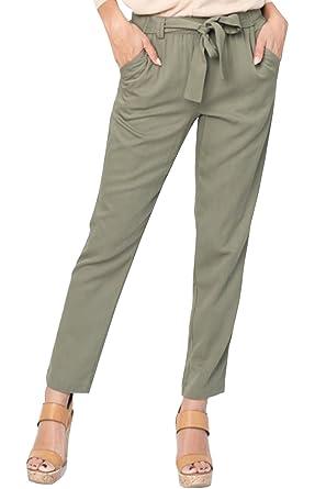 cf30b0396deb1 Kathemoi Womens Linen Pants Casual Work Drawstring Elastic Waist Tie Dress  Pants Pockets at Amazon Women s Clothing store