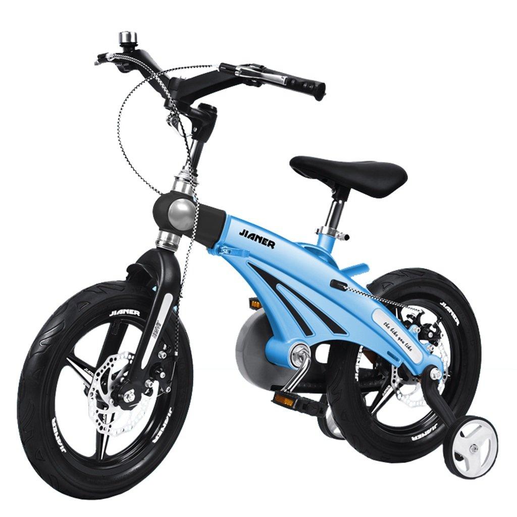 KANGR-子ども用自転車 子供の自転車適して2-3-6-8男の子と女の子幼児玩具屋外マルチカラーマウンテンバイク|折りたたみハンドルバー|調節可能な高さ| 8CMスケーラブルボディー|ダブルディスクブレーキ|トレーニングホイール付き-12 / 14/16インチ ( 色 : 青 , サイズ さいず : 16 inches ) B07BTTRPLJ 16 inches|青 青 16 inches