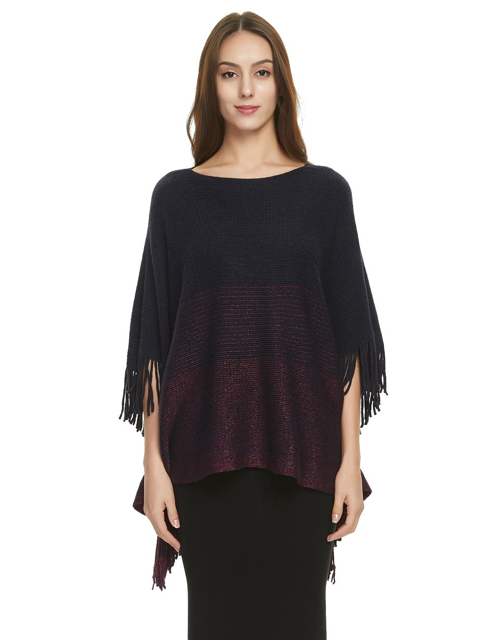 Ferand Women's Constrast Striped Poncho Batwing Sleeve Sweater Tops with Fringes, One Size, Navy blue