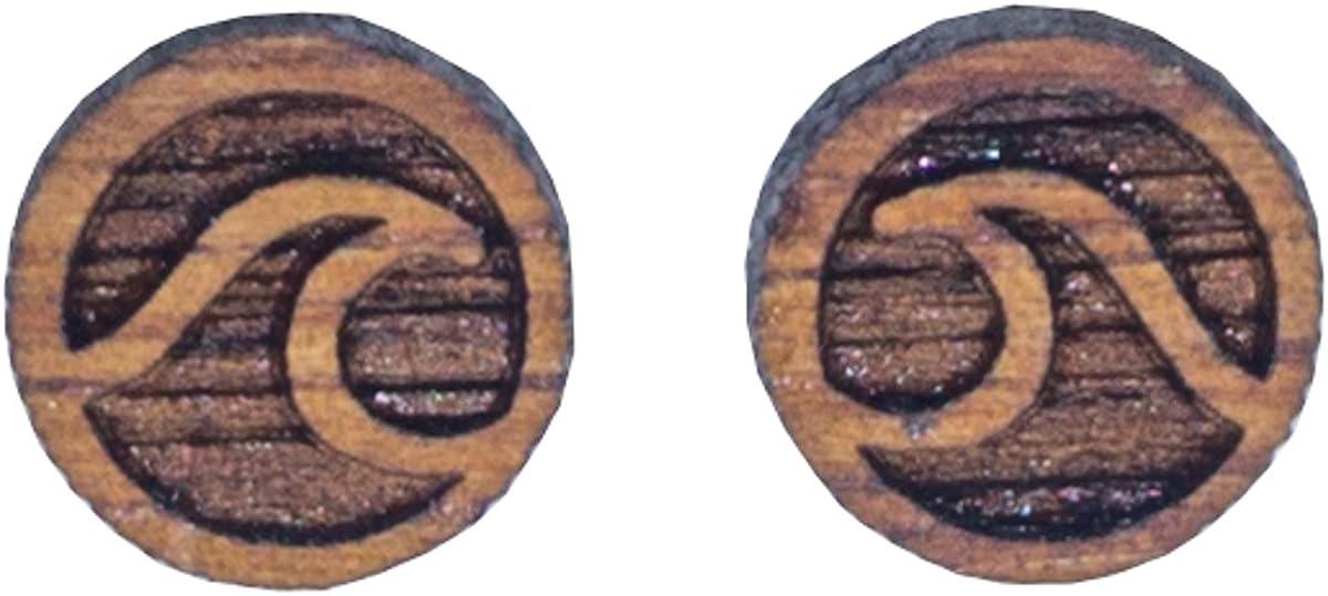 Shaka Koa Wood Stud Earrings