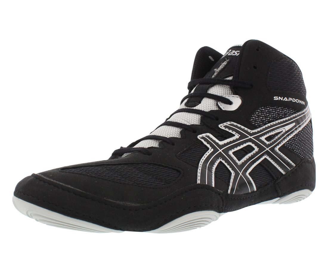ASICS Men's Snapdown Wrestling Shoe, Black/Silver, 13 M US