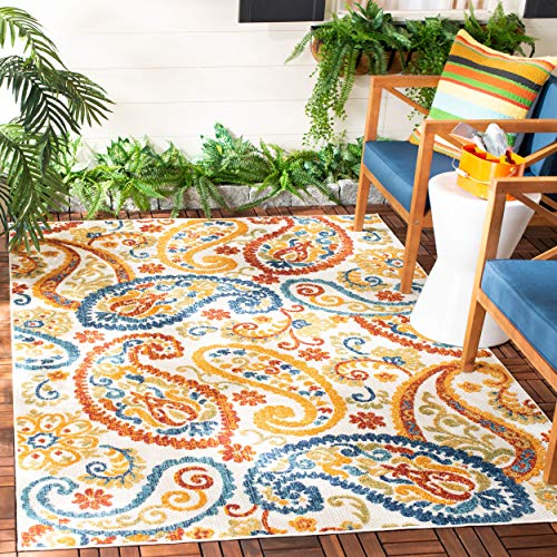 Safavieh CBN887A-9 Cabana Collection CBN887A Cream and Navy Premium Polyester (9' x 12') Area Rug,