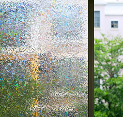17' Window Cling Decal (Bloss Decorative Window Films Rainbow Effect Privacy Window Clings Non-Adhesive 3D Window Covering Film for Glass, Door, Window 17'' By 78.7'')