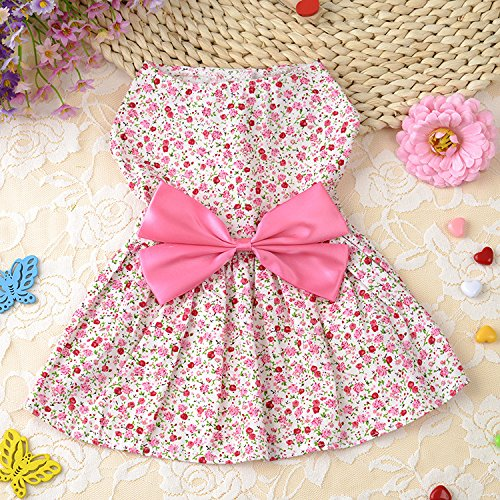 Stock Show 1Pc Fashion Spring Summer Pastoral Style Pet Floral Skirt Dress with Bowknot Decor, Princess Vest Tutu Dress for Puppy/Cat/Kitty, Pink
