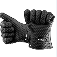 OMIAX BBQ Silicone Oven Gloves | Best Versatile Heat Resistant Grill Gloves | Lifetime Replacement | Insulated Silicone Oven Mitts For Grilling | Waterproof | Full Finger, Hand, Wrist Protection Gloves