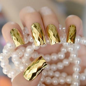 Echiq 3d Miroir en métal doré Faux ongles faux ongles longs Taille Rhombus  ongles en acrylique
