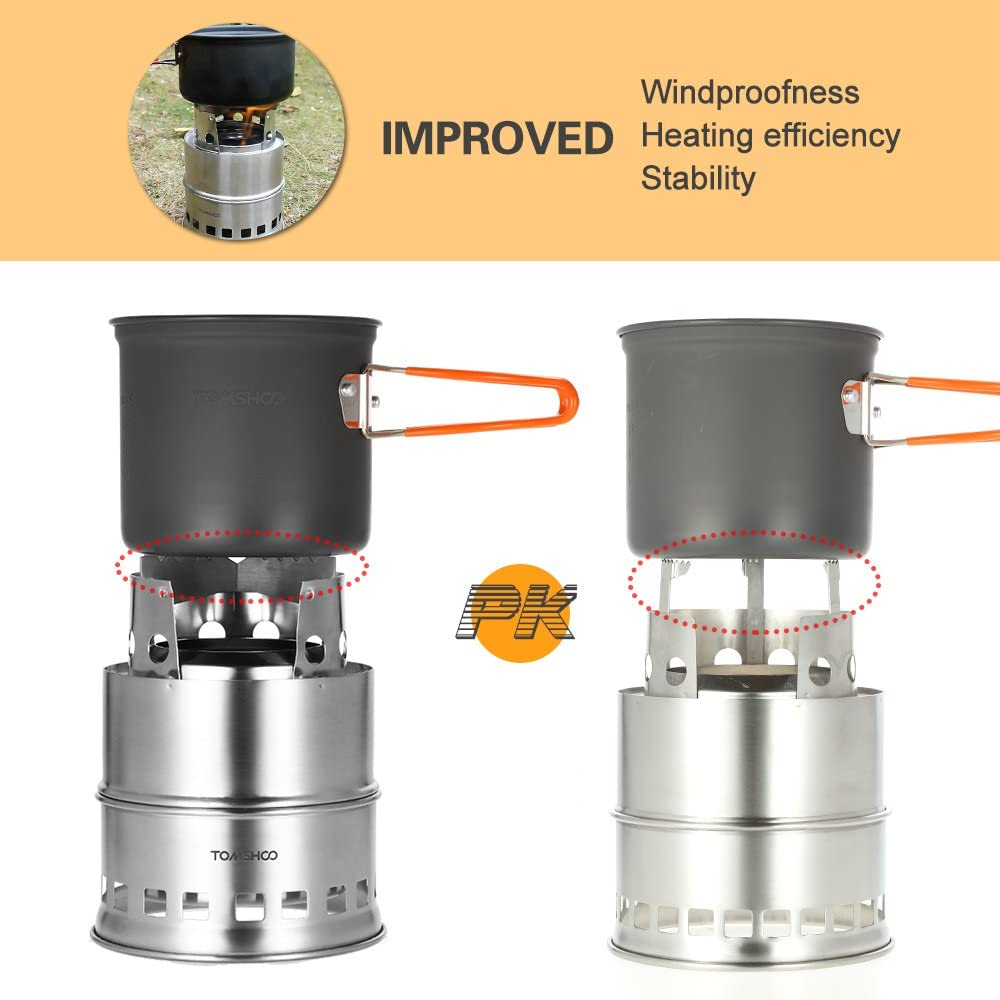 TOMSHOO Camping Stove//Backpacking Stove and windshield Backpacking Stove for Outdoor Hiking Picnic BBQ